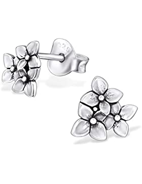 SILV Damen Ohrstecker Blüten klein - 925 Silber Ohrringe Blumen Silber Stecker antik 7x7mm #SV-229