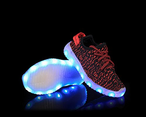 Feicuan Child USB Aufladen LED Light Colorful Lace-Up Turnschuhes Red
