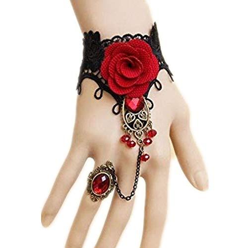 Rose Vampirin Kostüm - Rote Strass Rose Lace Armband Retro Gothic Style Vampire Slave Armreif Phantasie Hand Kette Kostüm