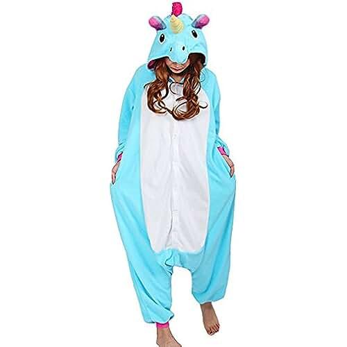 pijama de unicornio kawaii Pijama Animal Unicornio Entero para Adultos Pijama Mono Animal para Mujer Hombre Disfraz para Navidad con Capucha Invierno Franela