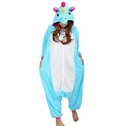Einhorn Kostüm Erwachsene Tier Jumpsuits Onesie Pyjama Nachthemd Nachtwäsche Cosplay Overall Hausanzug Fastnachtskostuem Karnevalskostüme Faschingskostüm Kapuzenkostüm (XL: Für Ihre Höhe :181 - 190cm, Blau) (Karnevalskostüme)
