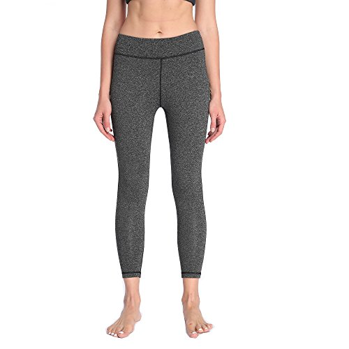 Pantalon Femme - Leggings Gris Tailleur Classique Haute Taille Tight Panty de Compression pour Fitness Yoga Vélo Gym Course Jogging Pilate Musculation Training