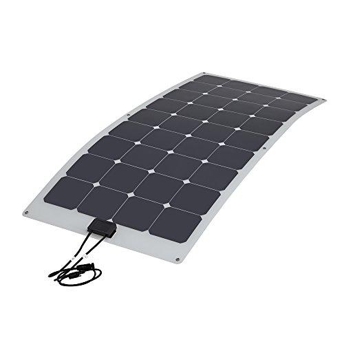 Biard 100W Panel Solar Semi Flexible Monoscristalino - Contacto Posterior - Para Cargar Baterías 12V - Ideal Para Caravanas, Botes y Casas Rodantes - Acabado Plateado