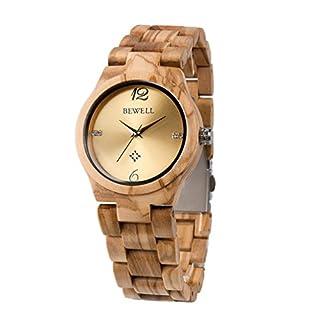 RUNACC Damen Holz Uhr Vintage Quarzuhren Stilvolle Armbanduhr mit Faltschließe