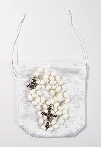 Erstkommunion 1. Konfirmation weiß Rosenkranz Perlen Halskette Geschenkbeutel (Erstkommunion Für Anzüge Die)