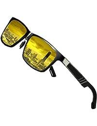 DUCO Herren und Damen Polarisierte Blendschutz Nachtfahrbrille HD Nachtsicht Gelb Fahrbrille 2217