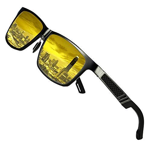 DUCO Herren und Damen Polarisierte Blendschutz Nachtfahrbrille HD Nachtsicht Gelb Fahrbrille 2217 (Schwarz)