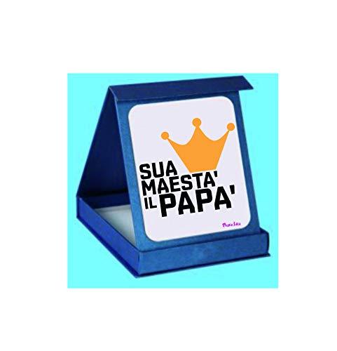 Pazza idea targa targhetta adesiva con scatola scritta sua maesta' il papà regalo festa