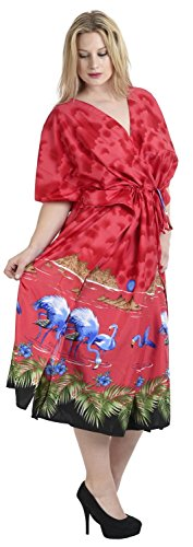 La Leela Badebekleidung bewölkt Flamingo glatt alle in Damen Strand-Bikini-Vertuschung casual Abendkleid plus Dressing Nachthemd Lounge Abend tief Hals lange lose Kimono drastring Maxikleid Kaftan scharlachrot