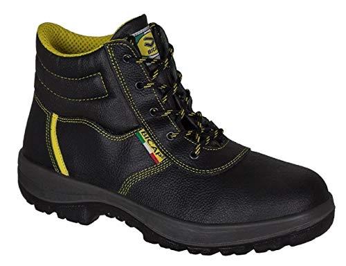 BICAP Scarpe da lavoro (L 2409/2B S3 SRC) in pelle con punta in acciaio e suola in acciaio EN ISO 20345:2011 - Scarpe antinfortunistica, punta in acciaio - per uomo e donna, colore nero