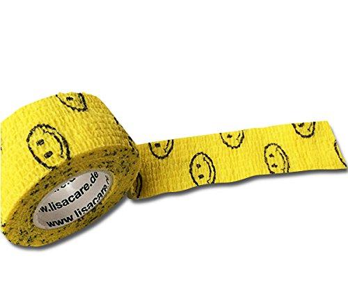 Pflasterverband, Wundpflaster, Kinderpflaster, Tierpflaster, elastisch & ohne Kleber, 2,5cm breit (2er Packung, Smiley Gelb)