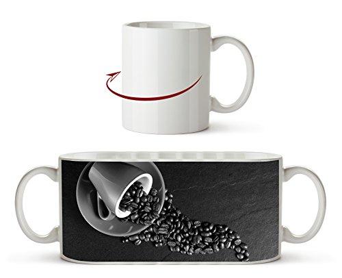 Kaffee Tasse mit Kaffeebohnen Effekt: Schwarz/Weiß als Motivetasse 300ml, aus Keramik weiß,...