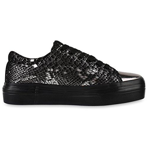 Damen Plateau Sneakers 90s Style Sportschuhe Freizeit Schuhe Schwarz Snake