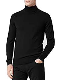 BLACK MEN'S ROLL NECK SOFT SUPERIOR QUALITY COTTON LONG-SLEEVE TOPS (Ref:1251)