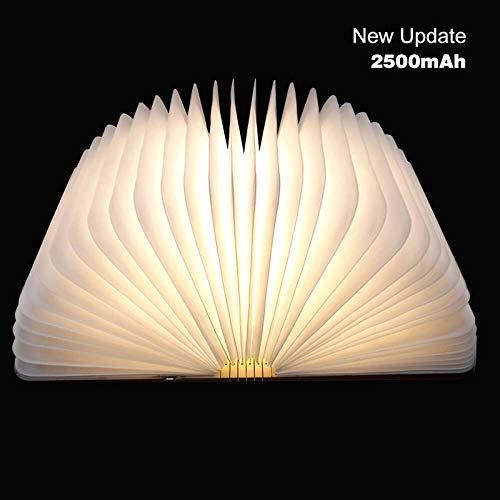 LED Buchlampe faltbar Tischlampe aus Holz USB Kabel 2500 mAh