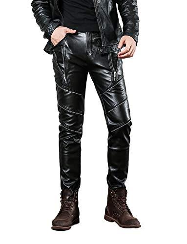Idopy Herren Slim Fit Soft PU Faux Leder Biker Hose Trachtenlederhose Trachtenlederhose Lederhosen,  Schwarz, W34(Taille 84cm) -
