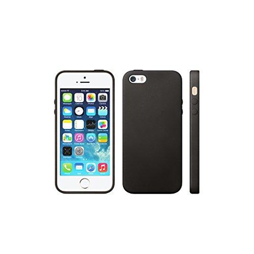 iPhone SE 5S 5 Case, Fone-Stuff® - TPU Gel de couverture, Motif en cuir Housse de protection - Beige Black