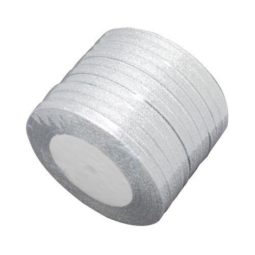Pandahall,cinta de la chispa, material de bricolaje de organza arco, doble cara, color de plata, tamano: cerca de 6 mm de ancho, 25 yardas / rodillo, 10 rollos / grupo, 250 yardas / grupo.