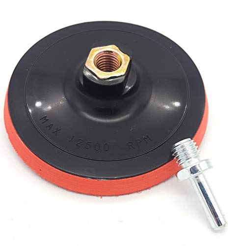 Schleifteller 125mm M14 Gewinde mit Dorn für die Bohrmaschine und Akkuschrauber Klett auch für Exzenter Schleifmaschinen geeignet Polieraufsatz bohrmaschine schleifpad