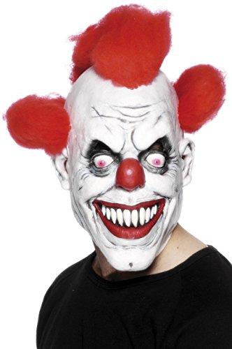 Smiffys Herren Grusel Clown Maske mit angebrachtem Haar, One Size, Rot und Weiß, 26385 (Clown Maske)