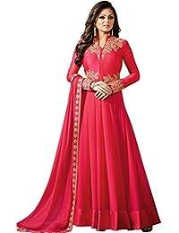 Kings Fashion Bazaar Women Georgette Anarkali Semi-Stitched Salwar Suit (GATMPU11039_Pink_Free Size)