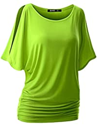 0cdc8840ece Yonglan Femme Manches Courtes T-Shirt Couleur Unie Casual Col Rond Épaules  Dénudées Batwing Tee