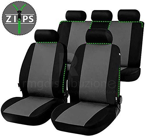 rmg-distribuzione Coprisedili per MICRA Versione (2010-2017) con Aperture per sedili con airbag, bracciolo Laterale, sedili Posteriori sdoppiabili, Cinture di Sicurezza R16S0578