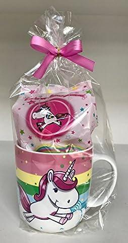 Einhorn Geschenkset Tasse mit Einhorn-Design & 220g Fruchtgummi in Einhorn-Form als Set verpackt mit (Riesen Licht-sets)