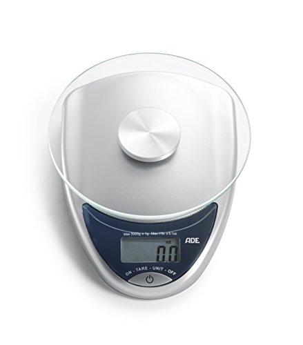 ADE Digitale Küchenwaage KE 736 Celina. Kompakte elektronische Waage im Retro-Design mit runder Wiegefläche aus Sicherheitsglas für bis zu 5 kg. Inklusive Batterie. Farbe: silber - anthrazit