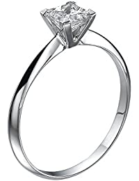Diamond Engagement Ring in 14K Gold / White - GIA Certified, Princess, 0.43 Carat, I Color, SI2 Clarity