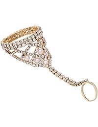 Designer Finger Ring Bracelet / Bracelet For Women Gold Plated / Bracelets Cum Ring For Women And Girls Stylish