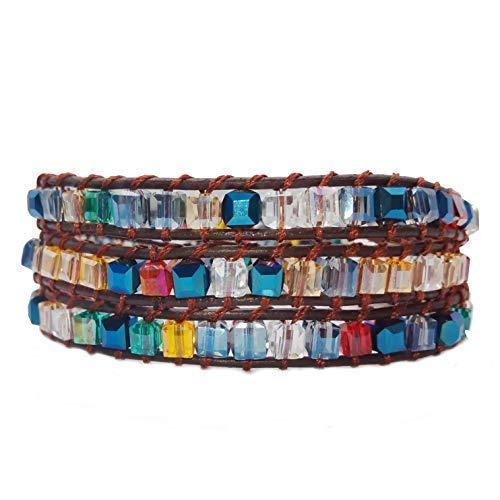 AMAYA Chakra Perlenarmband Frauen Damen buntes blaues Wickelarmband - Kristall- und Natursteine mit Leder-Armband - Modeschmuck handgefertigt - Armband Länge verstellbar (Multi-Color Crystal) - Strass Besetzte Jeans
