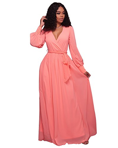 New Peach Chiffon Lang Sleeve V-Neck Maxi Kleid Party Sommer tragen Kleid Casual Cruise tragen Größe UK 14–16 EU 42–44 (Kleid Mieder Geraffte)