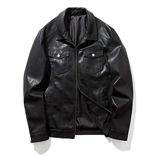 r Herren Jugend Casual Leder Motorradbekleidung Jacke - Schlank Gut Aussehend Pu-Lederjacke,Dünnes Schwarz,M ()