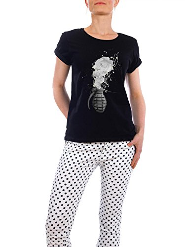 "Design T-Shirt Frauen Earth Positive ""Grenade"" - stylisches Shirt Floral von Hang it up Schwarz"