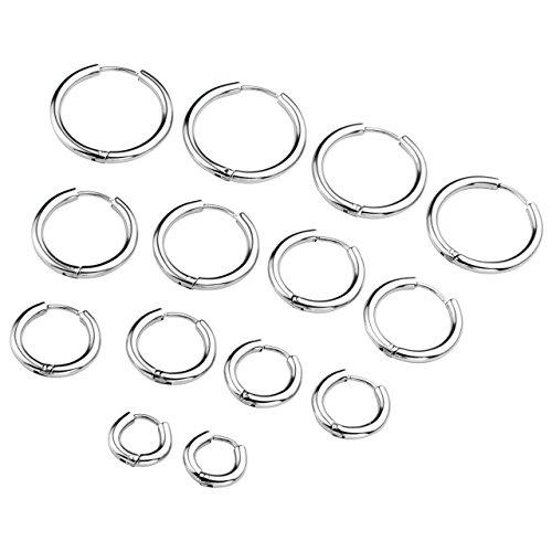 PiercingJ Paar Unisex 8-20mm Edelstahl Hoop Creolen Hinged Huggie Helix Tragus Ohrring Ohrpiercing Silber Gold 18G (Silber Set#2, 08-20mm) (Ohrringe Hoop Gold)