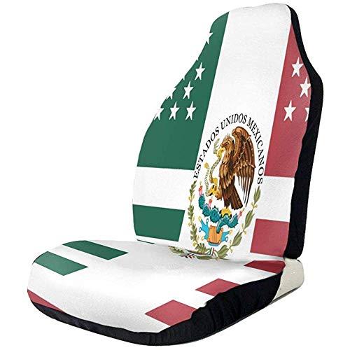 Drew Tours Flagge von Mexiko Autositzbezüge wasserdichte, rutschfeste Vordersitzbezüge Atmungsaktiver, elastischer Autositzschutz Sets of 2