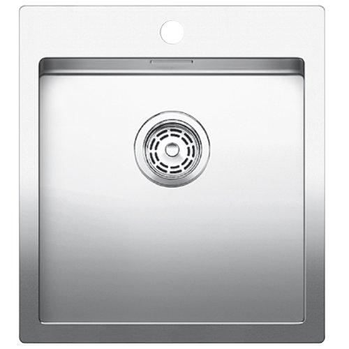 Preisvergleich Produktbild Blanco Claron 400-IF/A Sonder Edelstahl-Spüle, manuelle Ablaufgarnitur, Flachrand für 45 cm Unterschrank, silber, 519056