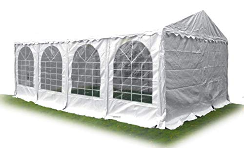 Ambisphere Partyzelt Premium 4x8 m Hochwertiger Pavillon 550g/m² PVC Plane Gartenzelt/Festzelt/Bierzelt Wasserdicht, UV-Resistent & Feuerhemmend in Weiß (Höhe Durchgang 2m) 5 Jahre Garantie