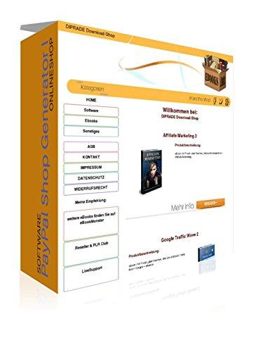 Preisvergleich Produktbild PayPal Shop 1 - Software - Generator (Download-Shop) – ohne Datenbank & ohne HTML / PHP Kenntnisse