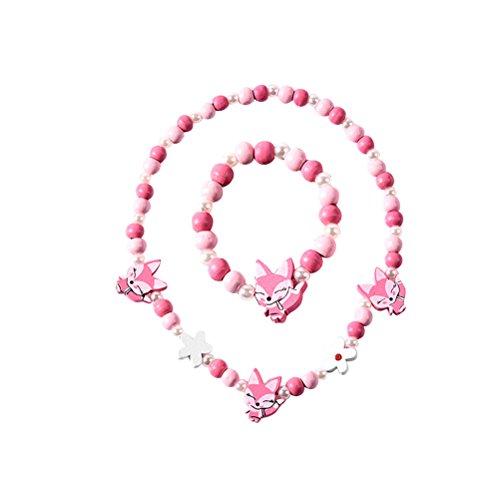 BESTOYARD Halskette Cartoon Bunte Tier Fox Form Armband Halskette Schmuck-Set für Kinder Kinder Mädchen