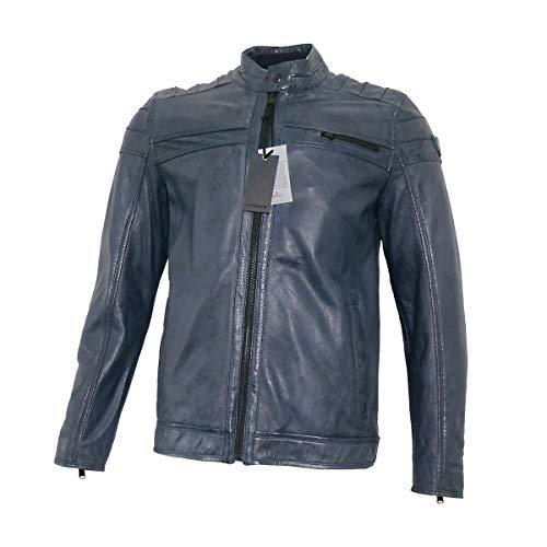 Vanguard Herren Lederjacke Bikerjacke Blau Petrol Jacke für Männer, Größe:M