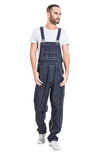 G8 One Men's Loose Fit Denim Dungarees - Dark Blue Value Overalls Cheap Dungarees MENSVALUEDARKBLUE-M-34