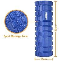 Mini Rodillo de Espuma-Rodillo para Masajes Viajes, Gimnasio, Casa, Pilates, Yoga-Diseño de Puntos de Activación-Alivio Miofascial-10 cm x 30 cm-Garantía de por Vida. (Blue)