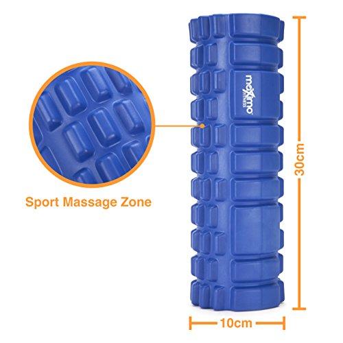 Mini Schaumstoff-Roller - Perfekter Massage-Roller für Reisen, Fitnesstudio, Heim, Pilates, Yoga - Triggerpunkt-Design - Myofasziale Freisetzung - 10 cm x 30 cm (Blue) -