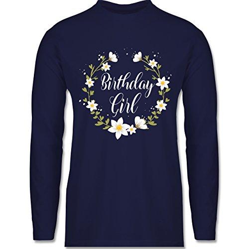 Shirtracer Geburtstag - Birthday Girl Flowers - Herren Langarmshirt Navy Blau