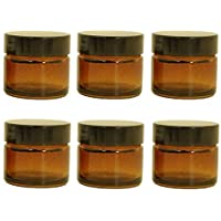 Preisvergleich für 6er Pack x 15ml Leeres Bernstein Glaskrug mit schwarzem Deckel für Aromatherapie, Kosmetik, Lippenbalsam und creme