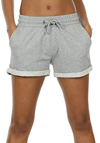 icyzone Damen Shorts Sport Yoga Kurze Hose Sweatpants Laufshorts Baumwolle (XL,Athletic Grey) -