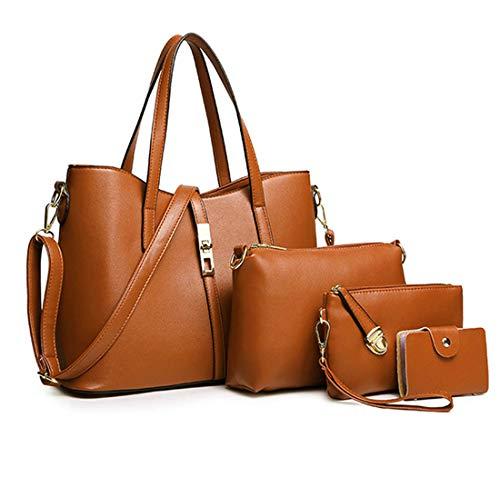 93f76bef32a42 SIFINI Damen Mode PU Leder Handtasche + Schultertasche + Geldbörse +  Kartenhalter Tasche 4er Damentasche Set
