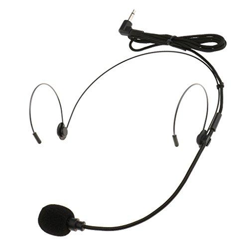 MagiDeal Mikrofon Headset Bügelkopfhörer Doppelohrhaken Kondensator-Mikrofon - Schwarz - Schwarz - 3.5mm rechtwinklig
